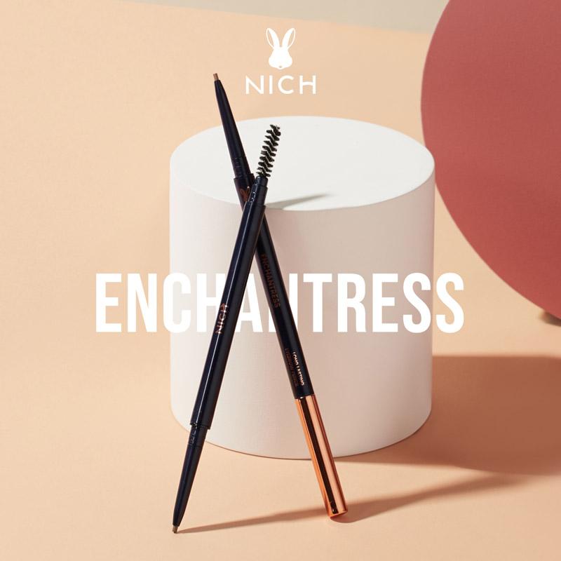 ดินสอเขียนคิ้วกันน้ำ นิช NICH ENCHANTRESS LONG LASTING EYEBROW PENCIL ดินสอเขียนคิ้วหัวเล็ก เขียนง่ายโทนสีน้ำตาล กันน้ำกันเหงื่อ ติดทน ราคาไม่แพง